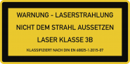 LASER KLASSE 3B DIN 60825-1, Textschild, Folie, 105x52 mm