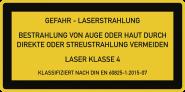 LASER KLASSE 4 DIN 60825-1, Textschild, Folie, 52x26 mm, 10 Stück/Bogen