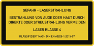 LASER KLASSE 4 DIN 60825-1, Textschild, Folie, 105x52 mm
