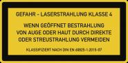 LASER KLASSE 4 DIN 60825-1, Textschild f. Zugangsklappen, Folie, 105x52 mm