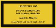 LASER KLASSE 3R DIN 60825-1, Textschild, Folie, 52x26 mm, 10 Stück/Bogen