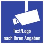 Video-Infozeichen - Text und/oder Logo nach Ihren Angaben, Alu, 180x180 mm
