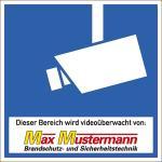 Video-Infozeichen mit mehrfarbiger Beschriftung, Alu, 18x18 cm