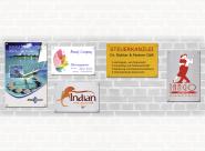 Firmen- und Werbeschilder, Aluverbund, Grundfarbe Gold gebürstet, 400x300 mm
