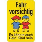 """Schulwegschild """"Fahr vorsichtig ..."""", Alu, 75x50 cm"""