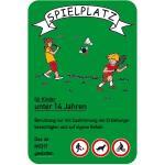 Spielplatz für Kinder unter 14 Jahren..., grün, Alu, 60x40 cm