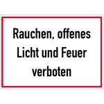 Rauchen, offenes Licht und Feuer verboten, Alu, 25x35 cm
