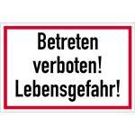 Betreten verboten! Lebensgefahr!, Alu, 20x30 cm