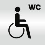 Piktogramm WC Behinderte/barrierefrei, Alu silber eloxiert, 148x148 mm