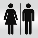 Piktogramm WC Damen/Herren, Alu silber eloxiert, 148x148 mm