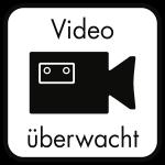 Video überwacht, Hinterglasaufkleber, Folie, doppelseitig, 125x125 mm