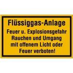 Flüssiggas-Anlage Feuer und Explosionsgefahr..., Kunststoff, 15x25 cm