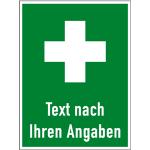 Hinweis auf Erste Hilfe - Text nach Ihren Angaben, Kunststoff, 300x400 mm