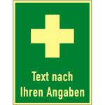 Hinweis auf Erste Hilfe - Text nach Ihren Angaben, Kunststoff,nachl., 300x400 mm