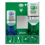 Augenspülstation mit 2 Flaschen Phosphatpufferlösung u. Natriumchloridlösung