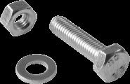 Befestigungsmaterial, je 1x Schraube M6x25, Mutter M6, Scheibe 6,4 mm