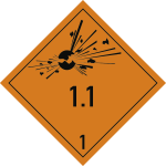 Gefahrzettel Klasse 1 - Unterklasse 1.1, Folie, 100x100 mm