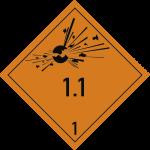 Gefahrzettel Klasse 1 - Unterklasse 1.1, Folie, 100x100 mm, 1000 Stück/Rolle