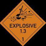 Gefahrzettel Klasse 1 - Unterklasse 1.3 Text EXPLOSIVE, Folie, 300x300 mm