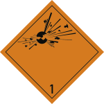 Gefahrzettel Klasse 1, Folie, 100x100 mm