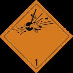 Gefahrzettel Klasse 1, Folie, 100x100 mm, 1000 Stück/Rolle