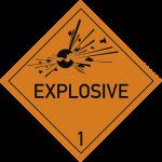 Gefahrzettel Klasse 1 Text EXPLOSIVE, Folie, 100x100 mm