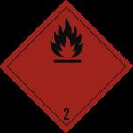 Gefahrzettel Klasse 2.1, Folie, 250x250 mm