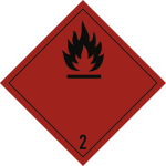 Gefahrzettel Klasse 2.1, Folie, 100x100 mm, 1000 Stück/Rolle