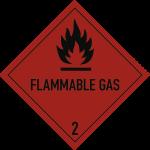 Gefahrzettel Klasse 2.1 Text FLAMMABLE GAS, Folie, 100x100 mm