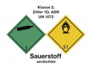 Gefahrzettel Klasse 2 - Sauerstoff verdichtet, Folie, 100x75 mm, 250 Stück/Rolle
