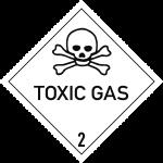 Gefahrzettel Klasse 2.3 Text TOXIC GAS, Papier, 100x100 mm, 1000 Stück/Rolle