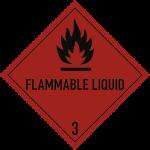 Gefahrzettel Klasse 3 Text FLAMMABLE LIQUID, Folie, 250x250 mm