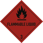 Gefahrzettel Klasse 3 Text FLAMMABLE LIQUID, Folie, 300x300 mm