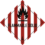 Gefahrzettel Klasse 4.1 Text FLAMMABLE SOLID, Folie, 100x100 mm