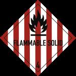 Gefahrzettel Klasse 4.1 Text FLAMMABLE SOLID,Folie, 100x100 mm, 1000 Stück/Rolle