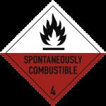 Gefahrzettel Klasse 4.2 Text SPONTANEOUSLY..., Folie, 250x250 mm