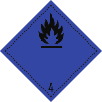 Gefahrzettel Klasse 4.3, Folie, 250x250 mm