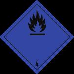 Gefahrzettel Klasse 4.3, Folie, 100x100 mm, 1000 Stück/Rolle