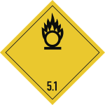 Gefahrzettel Klasse 5.1, Folie, 100x100 mm