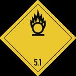 Gefahrzettel Klasse 5.1, Folie, 100x100 mm, 1000 Stück/Rolle