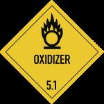 Gefahrzettel Klasse 5.1 Text OXIDIZER, Folie, 250x250 mm