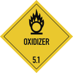Gefahrzettel Klasse 5.1 Text OXIDIZER, Papier, 100x100 mm, 1000 Stück/Rolle