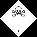 Gefahrzettel Klasse 6.1, Folie, 100x100 mm, 1000 Stück/Rolle