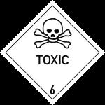 Gefahrzettel Klasse 6.1 Text TOXIC, Folie, 100x100 mm, 1000 Stück/Rolle