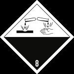 Gefahrzettel Klasse 8, Folie, 100x100 mm