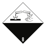 Gefahrzettel Klasse 8, Folie, 300x300 mm