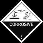 Gefahrzettel Klasse 8 Text CORROSIVE, Folie, 100x100 mm