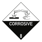 Gefahrzettel Klasse 8 Text CORROSIVE, Papier, 50x50 mm, 1000 Stück/Rolle
