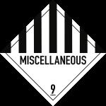 Gefahrzettel Klasse 9 Text MISCELLANEOUS, Folie, 100x100 mm