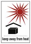 Gefahrzettel Vor Hitze schützen, Folie, 74x105 mm, 1000 Stück/Rolle